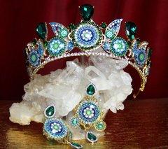 2229 Set Of Sicilian Tile Print Green Crystal Tiara+ Earrings