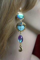 2389 Genuine Rainbow Topaz Carved Sun Turqoise Unusual Earrings