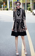 2429 Designer Inspired Fancy Crochet Black Mini Dress