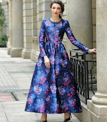2068 Plus Sizes Jacquard Cobalet Blue Mid Cuff Dress Gown
