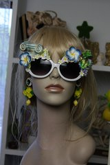 SOLD!  UV 400 Zibellini Top Heavy Gree 4476 Grape Column Hand Painted Embellished Spring Unusual Sunglasses