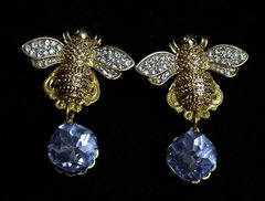 1927 Baroque Designer Inspired Gold Crystal Bee Blue Earrings