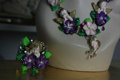 519  Baroque 3D Effect Victorian Cherub Purple Flower Cuff Bracelet Bangle