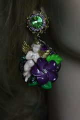 524  Baroque Vivid Cherub Massive Purple Flower Earrings Studs