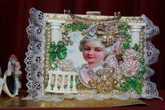SOLD! 2166 Marie Antoinette GardenStunning Embellished Handbag Trunk