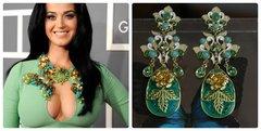 1266 Runway Designer Inspired Massive Green Gold Flower Earrings Studs