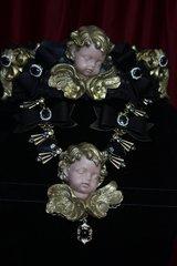 1768 Total Baroque Vivid Cherub Black Bow Crystal Necklace