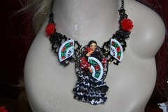 2010 Flamenco Dancer Fan Rose Hand Painted Set