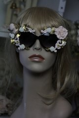 TSOLD! Total Baroque Pale Pink Rose Cherub Gold Leaf Fancy Sunglasses