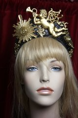 2405 Irregular Shape Total Baroque Gold Cherub Sun Leather Headband