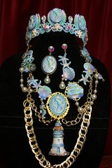 2292 Set Of Hand Painted Nautical Seahorse Agate Cameo Necklace+ Earrings