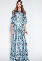 1808 Jacquard Blue Floral Print Russian Style Maxi Dress