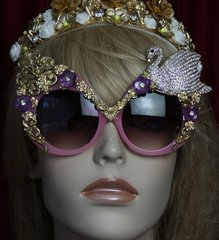 1875 Swan Crystal Baroque Oversized Pink Sunglasses