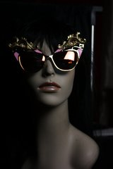 Runway  Designer Inspired Cat Eye Pink Fire Fancy Sunglasses