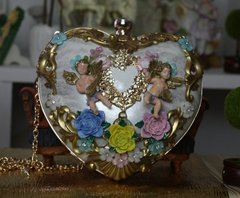 SOLD!1779 Designer Inspired Total Baroque Faded Silver White Heart Cherub Embellished Crossbody Trunk