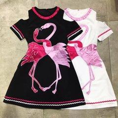 2395 Runway Fall 2017 Flamingo Applique 2 Colors Mini Dress