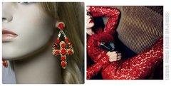 Runway Designer Inspired Rhinestone Red Rose Cross Baroque Earrings