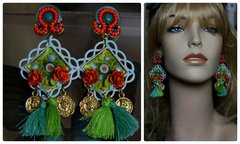 1256 Summery Bright Orange Green Coin Tassel Cameo Earrings
