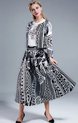 1793 Designer Inspired White Black Print Mid Cuff Twinset