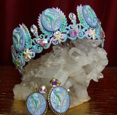 2291 Set Of Hand Painted Seahorse Crystal Crown Tiara +Earrings