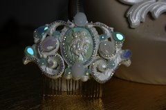 SOLD! 613  Hair Comb Art Nouveau Hand Painted Greek Inspiration Pealish Crystal