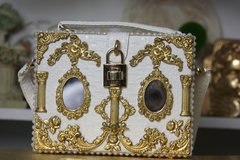 1498 Spring 2017 Designer Inspired Baroque Victorian Mirrow Trunk Handbag