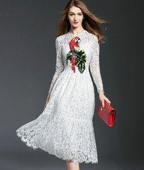 1738 White Lace Sequin Parrot Patch Midi Dress