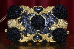2099 Baroque Heart Black Glitter Carnation Clutch