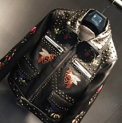 1450 GENUINE LEATHER Bee Applique Patch Moto Jacket