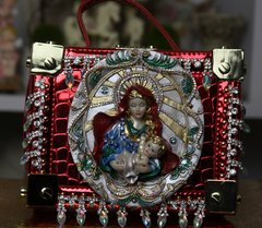 789  Victorian Vintage Style Rhinestone Virgin Mary Ornament Cigar Box Handbag Trunk