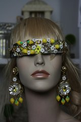 878 Lemon Stunning Enamel Flower Rhinestone Headband Hairwear