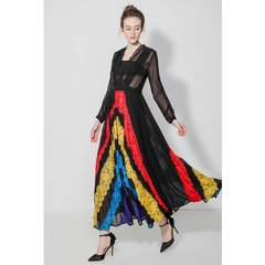 2506 Designer Inspired Colorful Sheer Lace Elegant Mid Cuff Dress