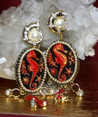 2290 Hand Painted Seahorse Coral Pearl Studs Earrings