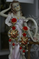 1121 Designer Inspired BAroque Heart Red Rose Dangle Earrings