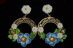 1947 Sicilian Bee Daisy Hand Painted Rounded Gold Filigree Huge Earrings