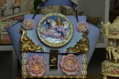 SOLD! 802  Victorian Vintage Style Hand Painted Fairy Dove Crossbody Handbag Purse