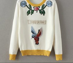 1538 Embroidery Bird 3 Colors Warm Cashmere Sweater