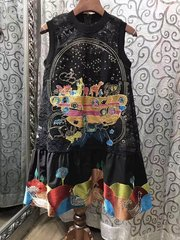 2450 Designer Inspired Asian Embroidery Fancy Black Mini Dress