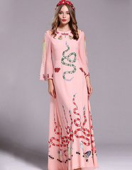 1317 Designer Inspired Pink Snake Print Maxi Dress