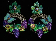 1976 Hand Painted Light Weight Bee Grapes Earrings
