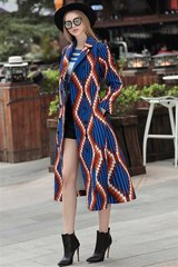 2498 Designer Inspired Abstract Print Blue Trench Coat