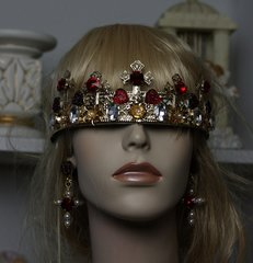 1204 SET Baroque Cross Red Crystal Heart Headband