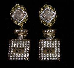 2332 Perfume Bottle Clear Crystal Studs Earrings