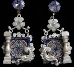1932 Italian Tile Roman Column Pearlish Unusual Studs Earrings