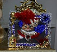 1898 Victorian Cat Impressive  Blue Crystal Embellished  TrunkPurse