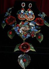 SOLD! 1891 SET Renaissance Zibellini Cameo Venus Cherub Vivid Rose Statement Necklace