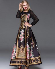 1342 Victorian Print Stunning Black Gown Maxi Dress