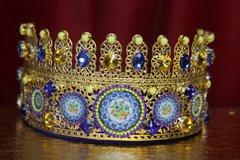 2254 Baroque Sicilian Tile Print Cameos Crystal Headband Crown