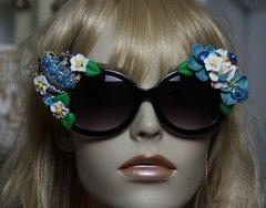 SOLD! 550  Turquoise Froggy Flower Unusual Fancy Sunglasses Eye Wear UV400