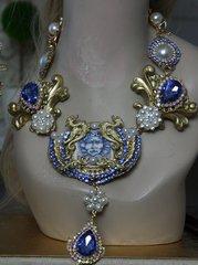 1159 Sicilian Medusa Tile Print Baroque Massive Swarovski Crystal Blue Set